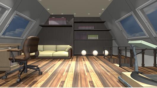 дизайн кабинета на мансарде