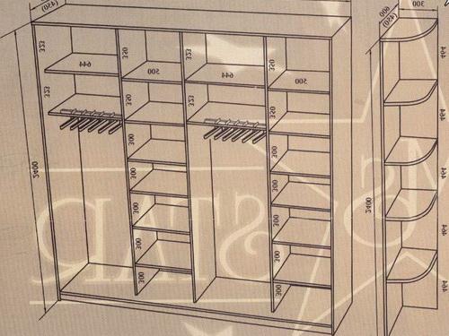 Наполнение шкафа купе внутри. Различные схемы и варианты в фотографиях