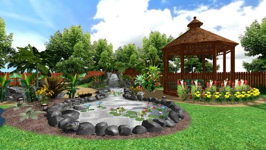 Ландшафтный дизайн с бассейном во дворе загородного дома