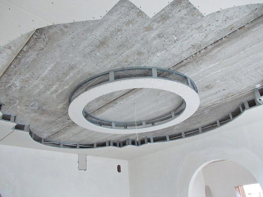 Потолок из гипсокартона своими руками круг 26