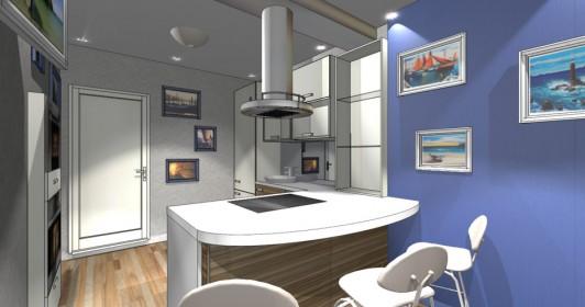 Дизайн интерьера кухни 9 м.и лоджии в панельном доме серии121-7Т
