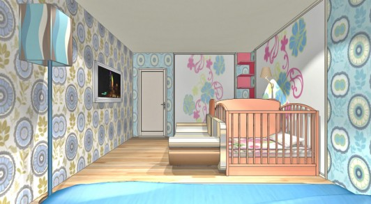 Дизайн спальни, совмещённой с детской комнатой