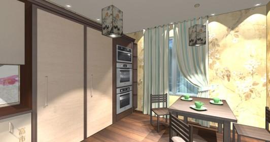 Интерьер кухни 12кв.м. в японском стиле