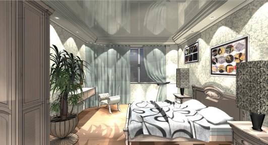 Дизайн интерьера спальной комнаты в доме серии 121-3Т