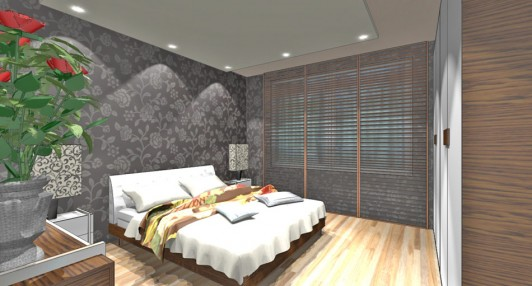Интерьер спальной комнаты в доме серии 121-7Т