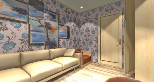 Дизайн интерьера гостиной с рабочим местом