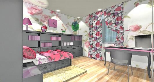 Дизайн проект спальной комнаты для девушки